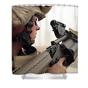 A Marine Aims In With A M-32 Multiple Shower Curtain