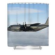 A Mc-130p Combat Shadow In Flight Shower Curtain
