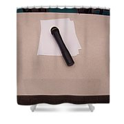 A Microphone On The Lectern Of A Presentation Room Shower Curtain