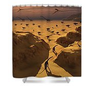 A Mixed Herd Of Dinosaurs Migrate Shower Curtain