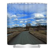 A Road View In Wildlife Refuge Shower Curtain