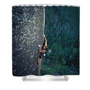 A Rock Climber In Montanas Hyalite Shower Curtain