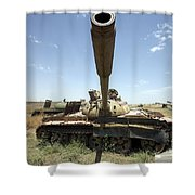 A Russian T-55 Main Battle Tank Shower Curtain