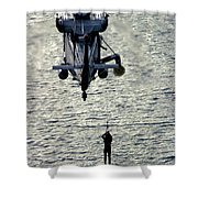 A Search And Rescue Swimmer Is Hoisted Shower Curtain