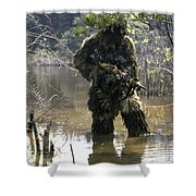 A Sniper Dressed In A Ghillie Suit Shower Curtain
