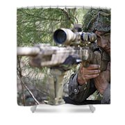 A Sniper Sights In On A Target Shower Curtain