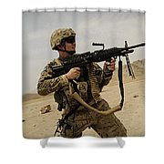 A Soldier Firing His Mk-48 Machine Gun Shower Curtain