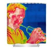 A Thermogram Of A Musician Playing Shower Curtain