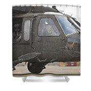 A Uh-60 Black Hawk Taxis Shower Curtain