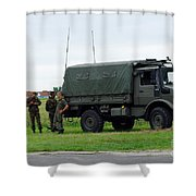 A Unimog Vehicle Of The Belgian Army Shower Curtain