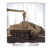A Us Army Mechanic Uses A M113 Shower Curtain