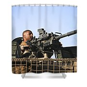 A U.s. Marine Fires A Gmg Automatic Shower Curtain