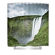 A Waterfall Over A Grassy Cliff Shower Curtain