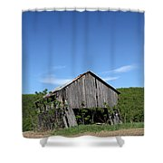 Abandoned Old Farm Building With Blue Sky Shower Curtain