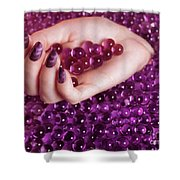 Abstract Woman Hand With Purple Nail Polish Shower Curtain