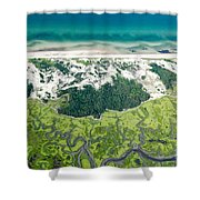Aerial Vew Of Sandy Neck Beach In Barnstable On Cape Cod Massac Shower Curtain