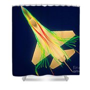 Air Flow Over F-16 Jet Fighter Shower Curtain