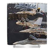 Aircraft Parked On The Flight Deck Shower Curtain