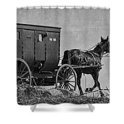 Amish Buggy Black And White Shower Curtain