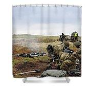 An 81mm Mortar Team Live Firing Shower Curtain