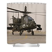 An Ah-64 Apache Helicopter Taxiing Shower Curtain