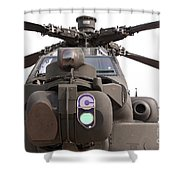 An Ah-64d Apache Helicopter Shower Curtain