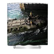 An Amphibious Assault Vehicle Enters Shower Curtain