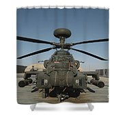 An Apache Helicopter At Camp Bastion Shower Curtain