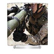 An Assaultman Handles Shower Curtain