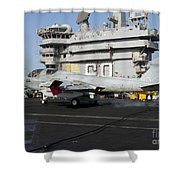 An Ea-6b Prowler Makes An Arrested Shower Curtain