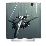 An F-15e Strike Eagle Flies Over Iraq Shower Curtain