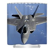 An F-22 Raptor Moves Into Position Shower Curtain