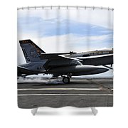 An Fa-18c Hornet Lands Aboard Shower Curtain