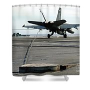 An Fa-18c Hornet Makes An Arrested Shower Curtain
