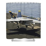 An Fa-18e Super Hornet Trap Landing Shower Curtain