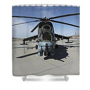 An Mi-24 Hind Helicopter Shower Curtain