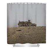 An Mrap Vehicle Patrols The Ridge Shower Curtain