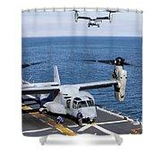 An Mv-22 Osprey Tiltrotor Aircraft Shower Curtain
