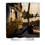An Oh-58d Kiowa During Sunset Shower Curtain