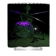 An Oh-58d Kiowa Helicopter At Cob Shower Curtain