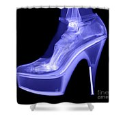 An X-ray Of A Foot In A High Heel Shoe Shower Curtain