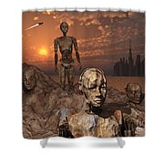 Android Fossils Preserved Shower Curtain