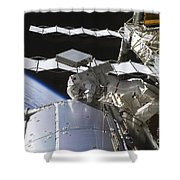 Astronaut Working On The International Shower Curtain