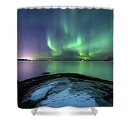 Aurora Borealis Over Vagsfjorden Shower Curtain