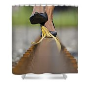 Banana Peel On The Railroad Tracks Shower Curtain