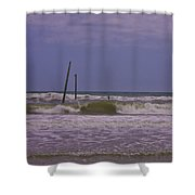 Barnacle Bill's Pier Remnants Shower Curtain