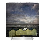 Beach Huts Under A Stormy Sky Vintage-look. Normandy. France Shower Curtain