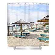 Beach Umbrellas On Sandy Seashore Shower Curtain
