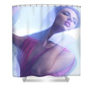 Beauty Photo Of A Woman In Shining Blue Settings Shower Curtain