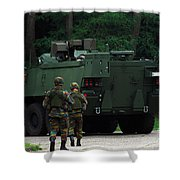 Belgian Infantry Soldiers Walk Shower Curtain by Luc De Jaeger